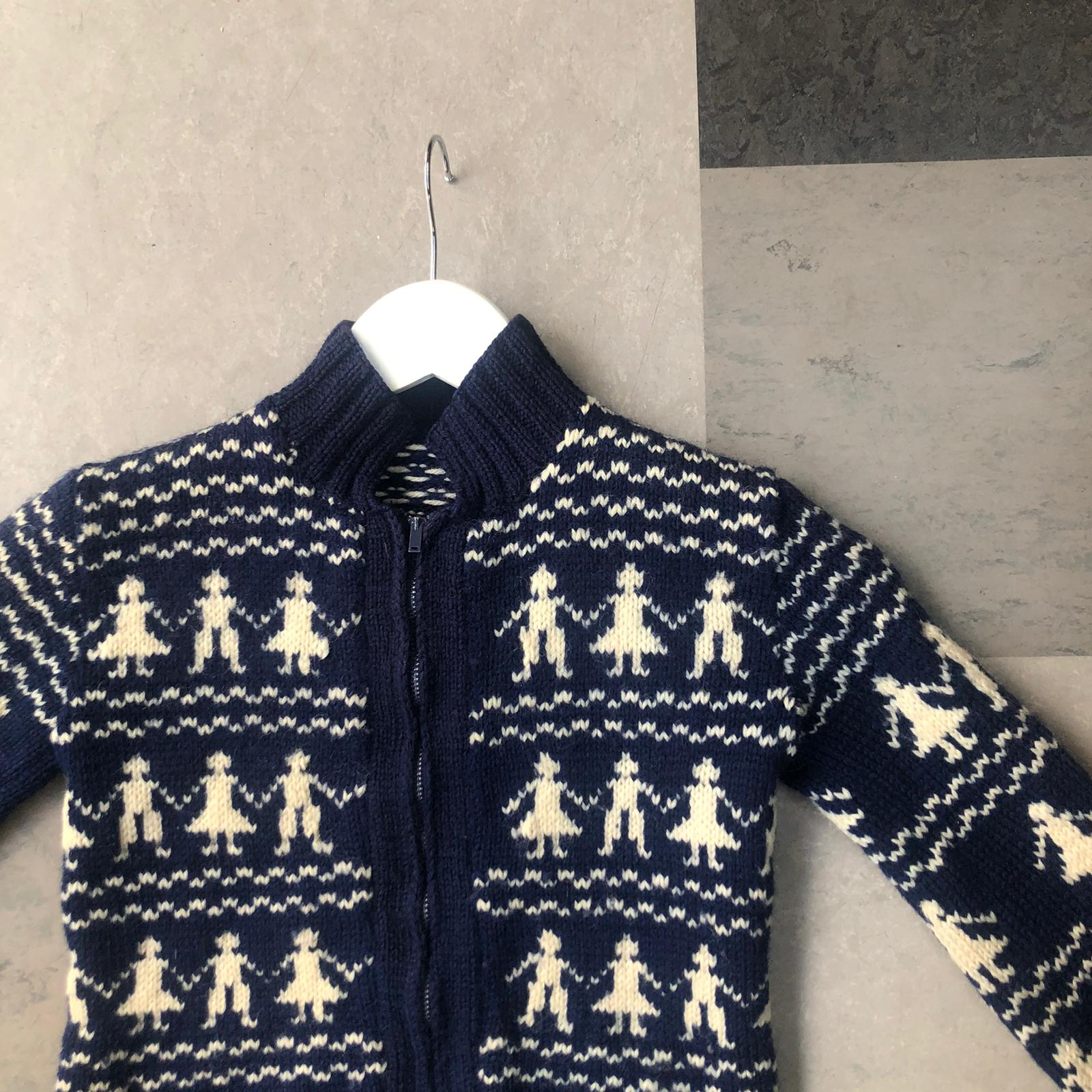 Vintage kids knitted zip front cardigan- age 2-3