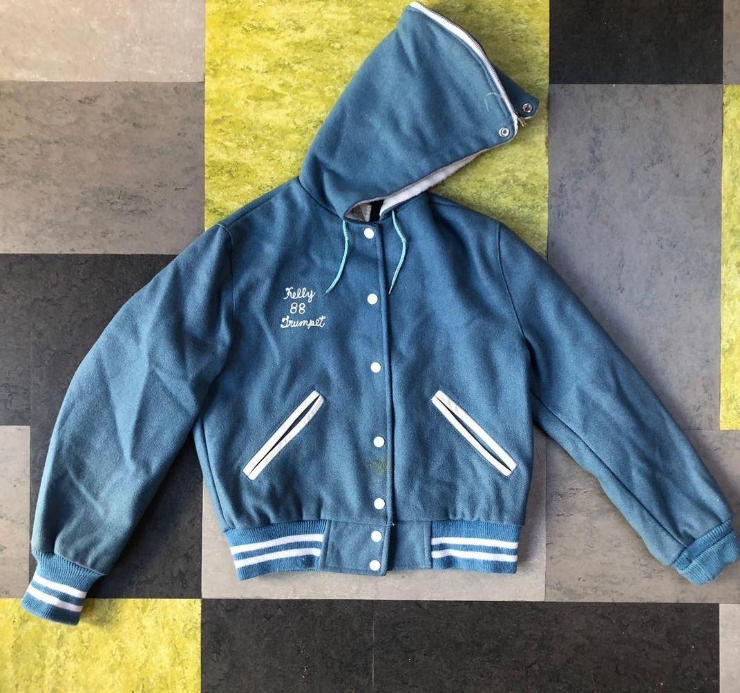 Vintage varsity jacket- Pale Blue cheerleader