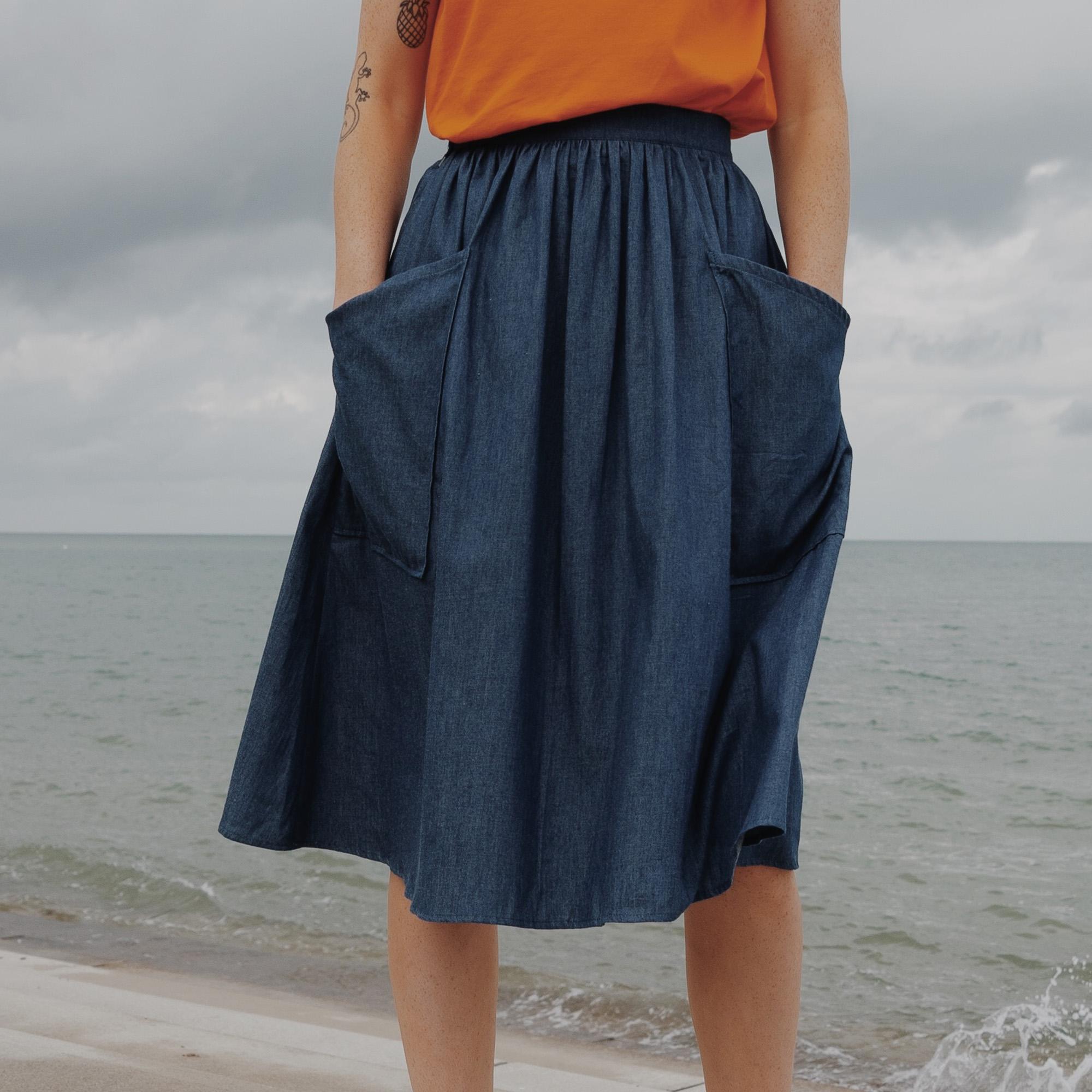 WerkHaus Margate- Blue & Green fine stripe skirt