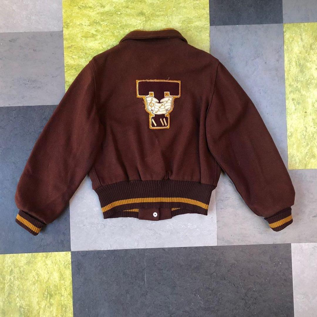 Vintage marching band jacket- rich brown