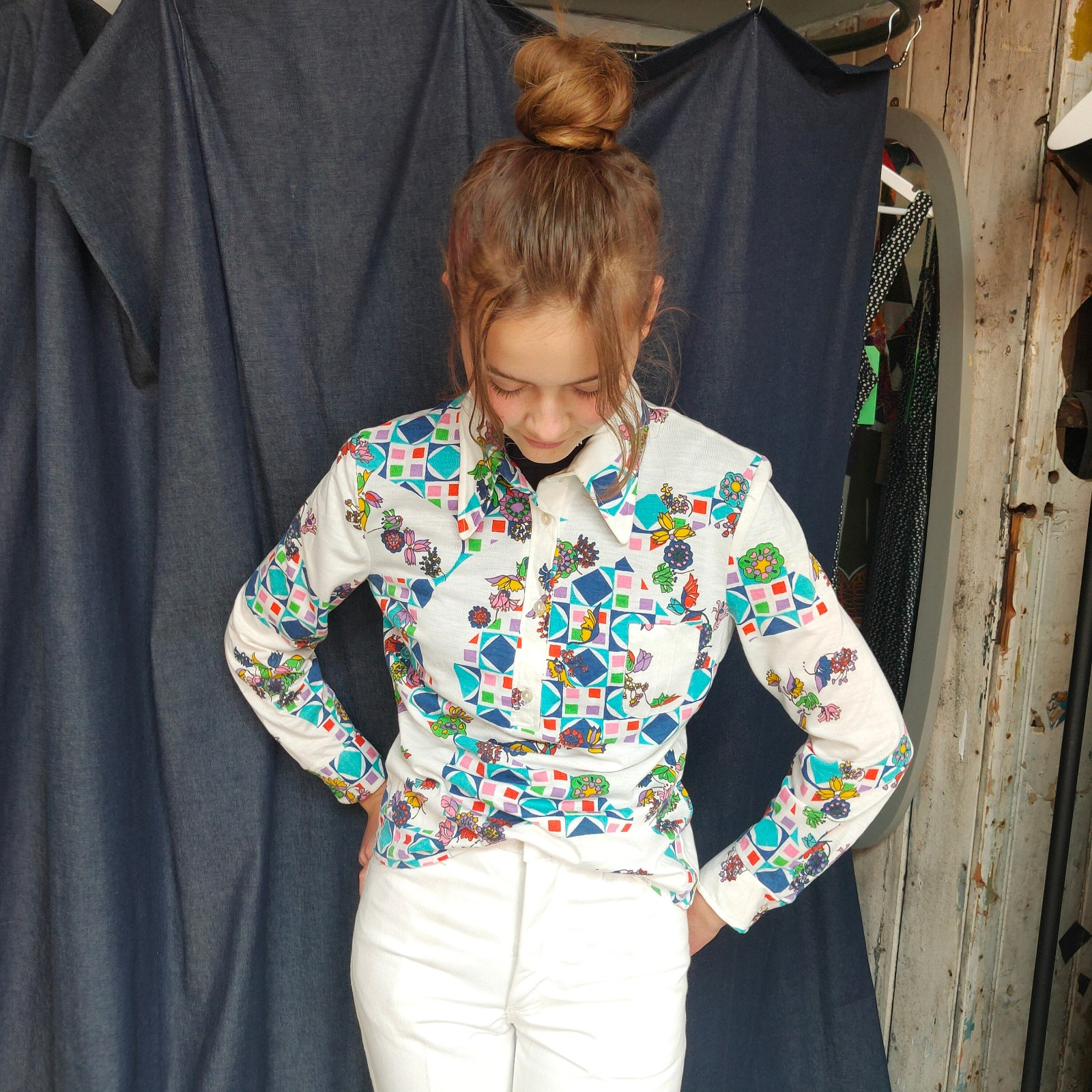 Vintage- Printed 70s jersey shirt