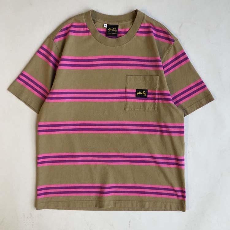 Stan Ray Stripe T-shirt- Pink & Beige