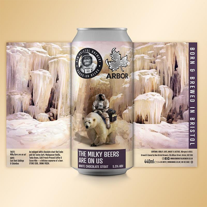 NEW BRISTOL + ARBOR THE MILKY BEERS ARE ON US STOUT 5.5%