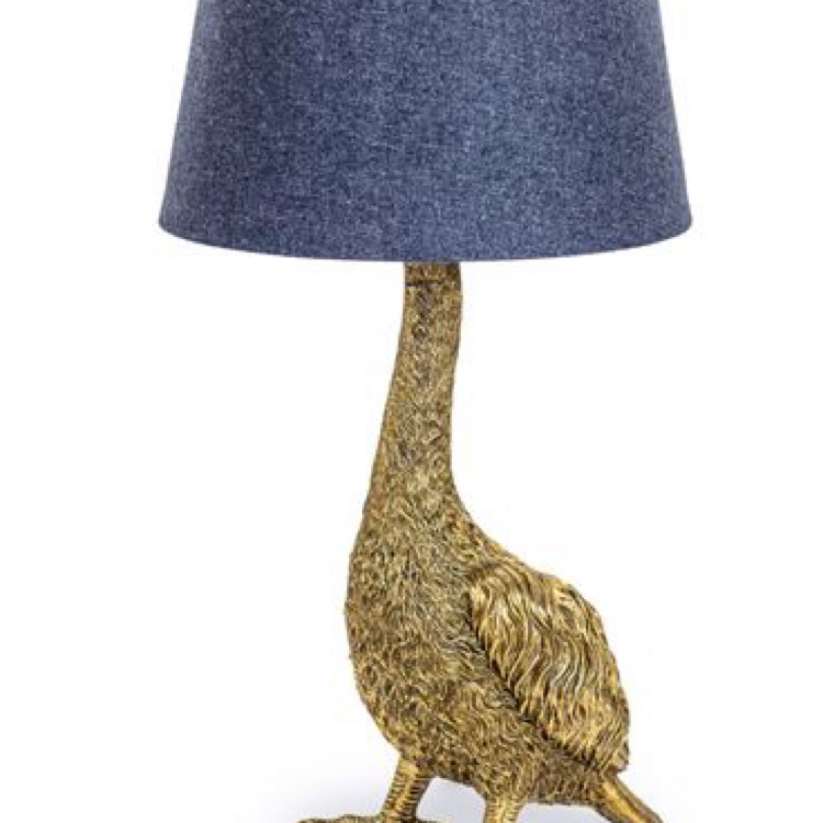 Antique gold Goose lamp with grey shade  30 x 59cm