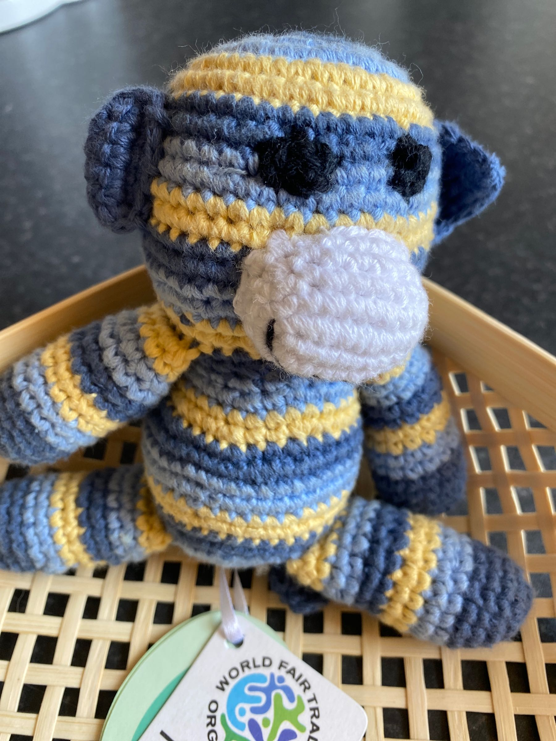 Pebble - Crochet monkey rattle - blue