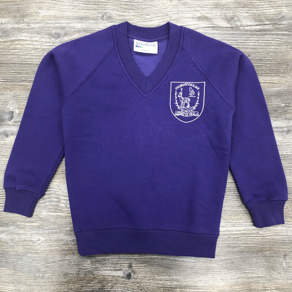 Thorneyholme Purple V-Neck Sweatshirt