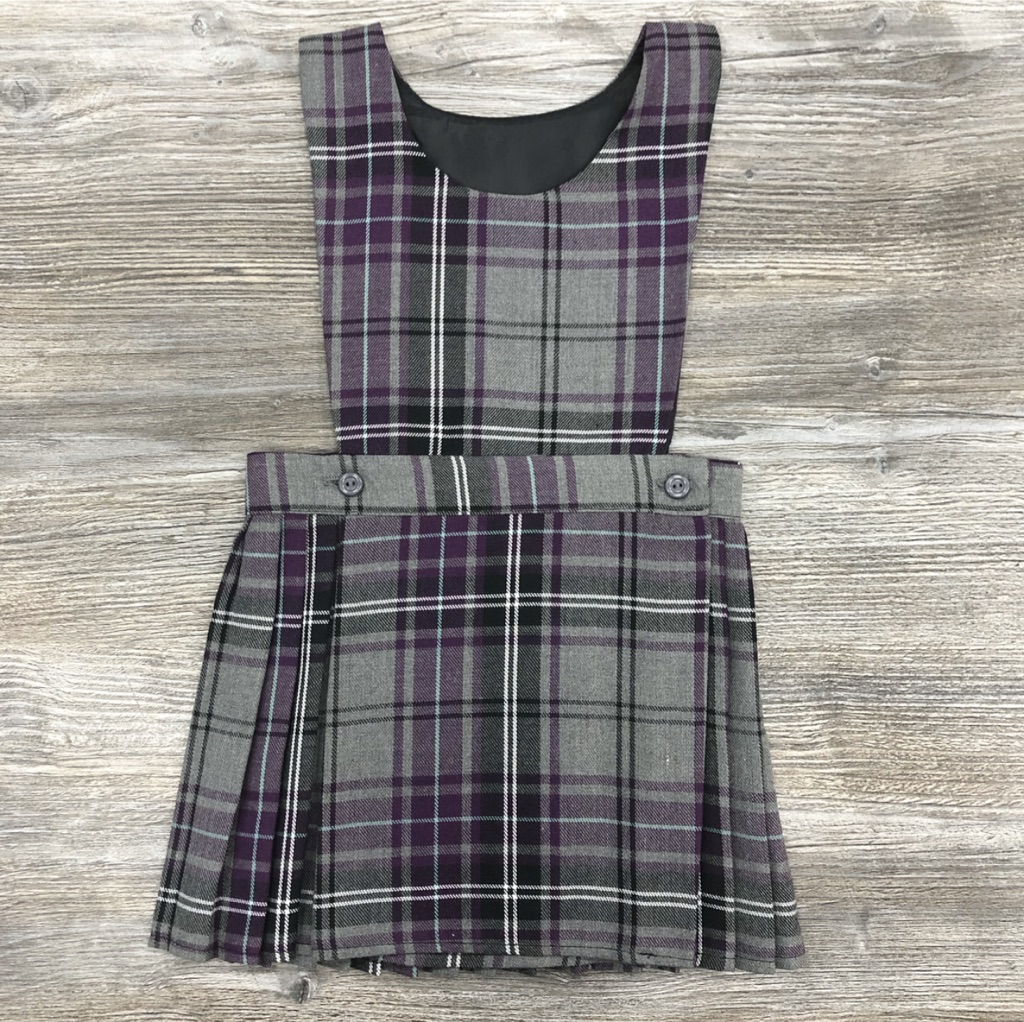 Purple & Grey Tartan Pinafore