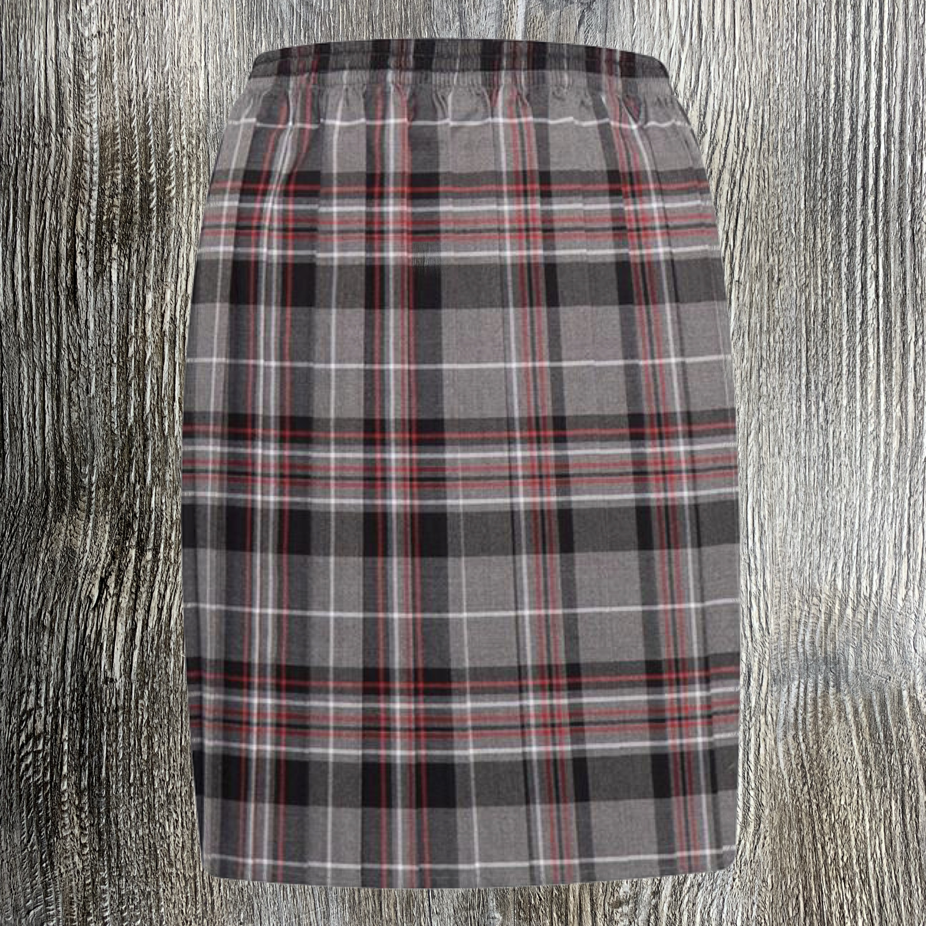 Grey and Red Tartan Skirt