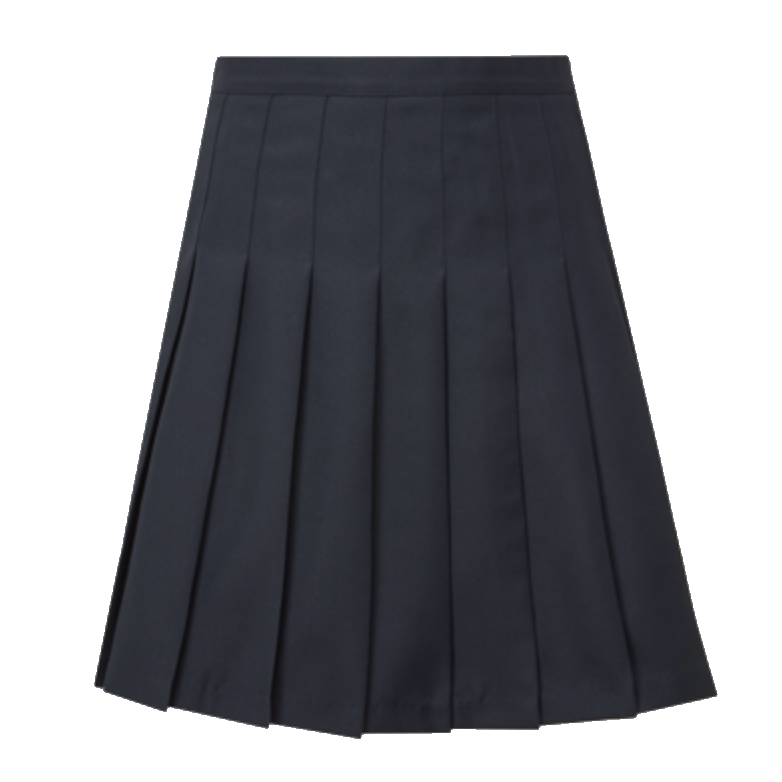 Plain Navy Stitch-Down Pleated Skirt