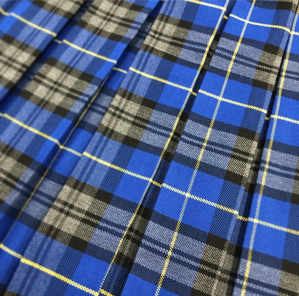 Blue tartan box pleat skirt