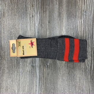 Grey Socks With Two Red Bands