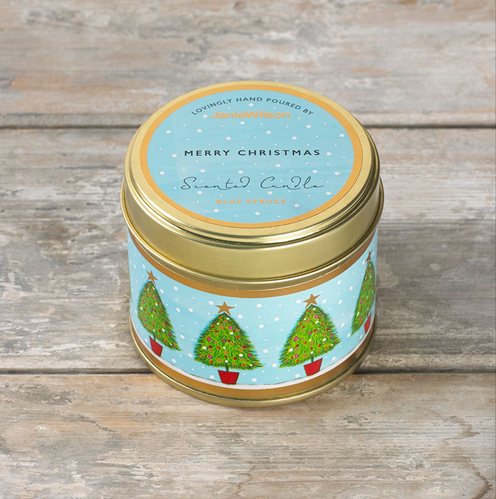 Janie wilson Merry Christmas fragranced blue spruce large tinned candle