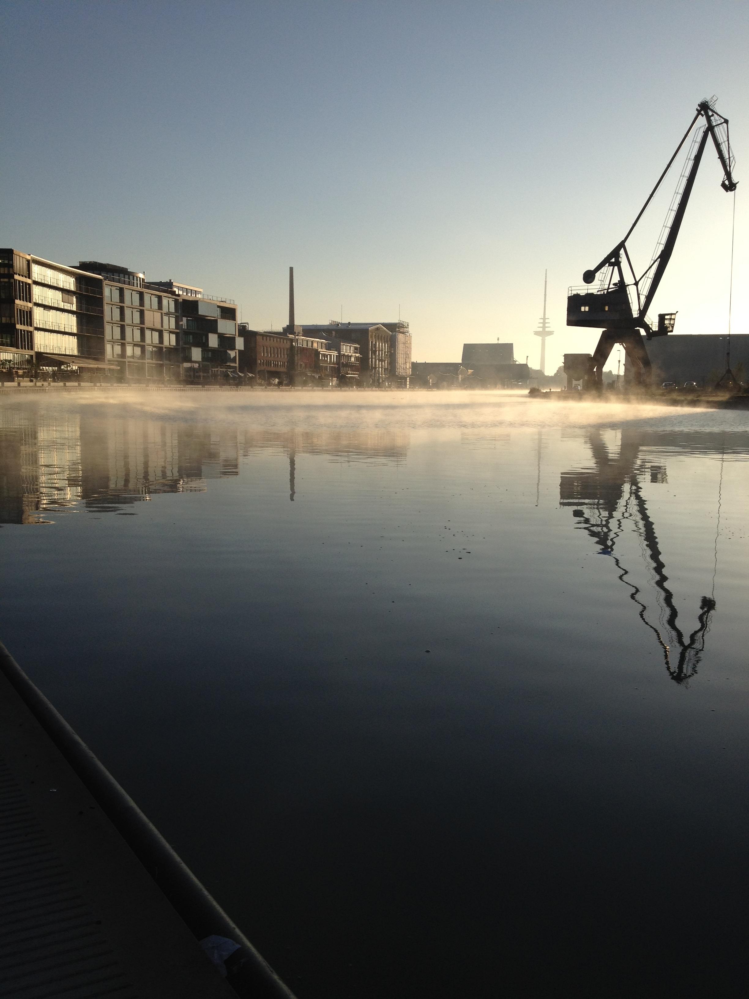 Münster Hafen im Nebel, Leinwand