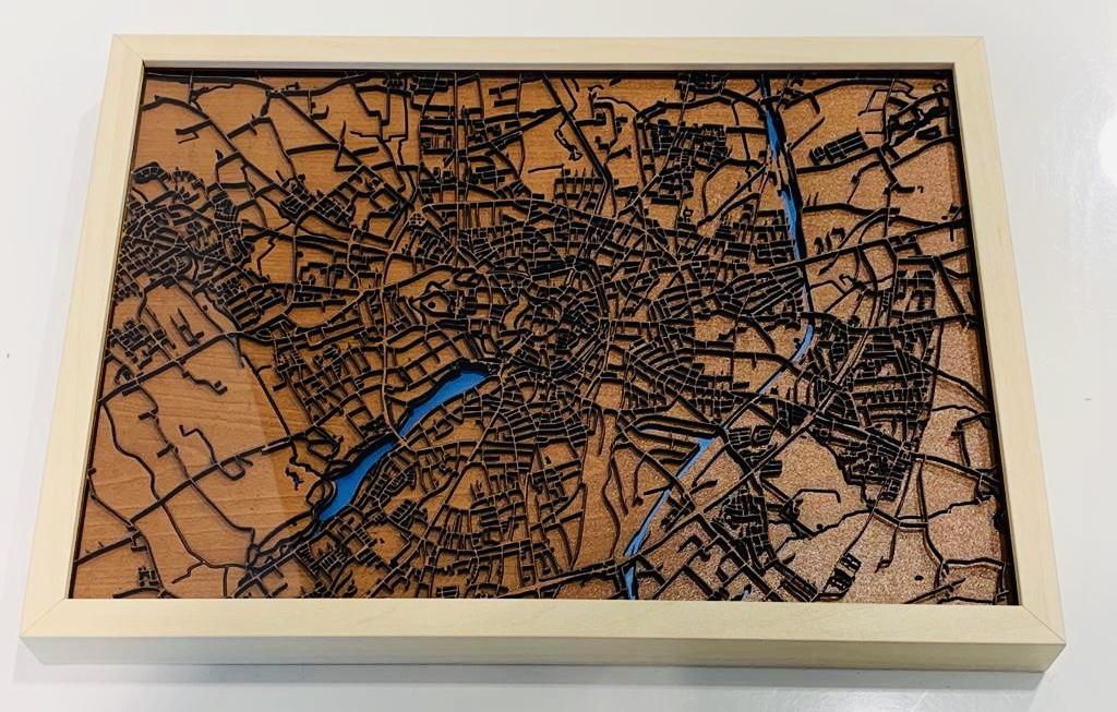 Münster-Stadtplan in 3D (Holz)