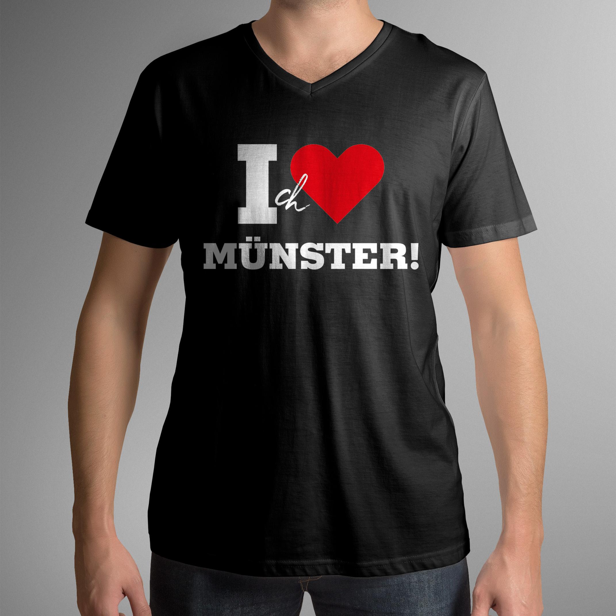 "Münster T-Shirt ""I Love MS"" (V-Ausschnitt)"