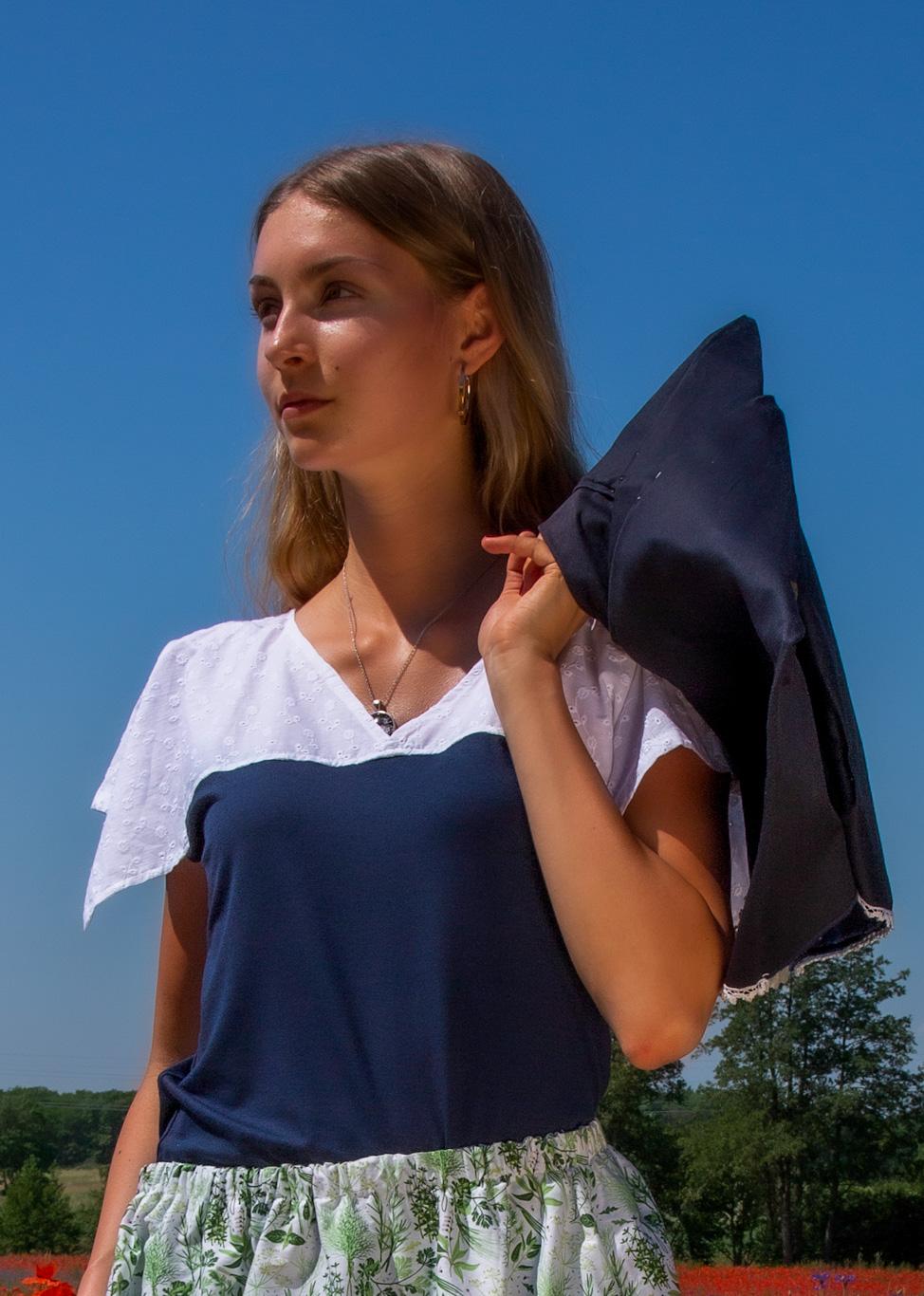 Tunika-Shirt Blau weiße Spitze