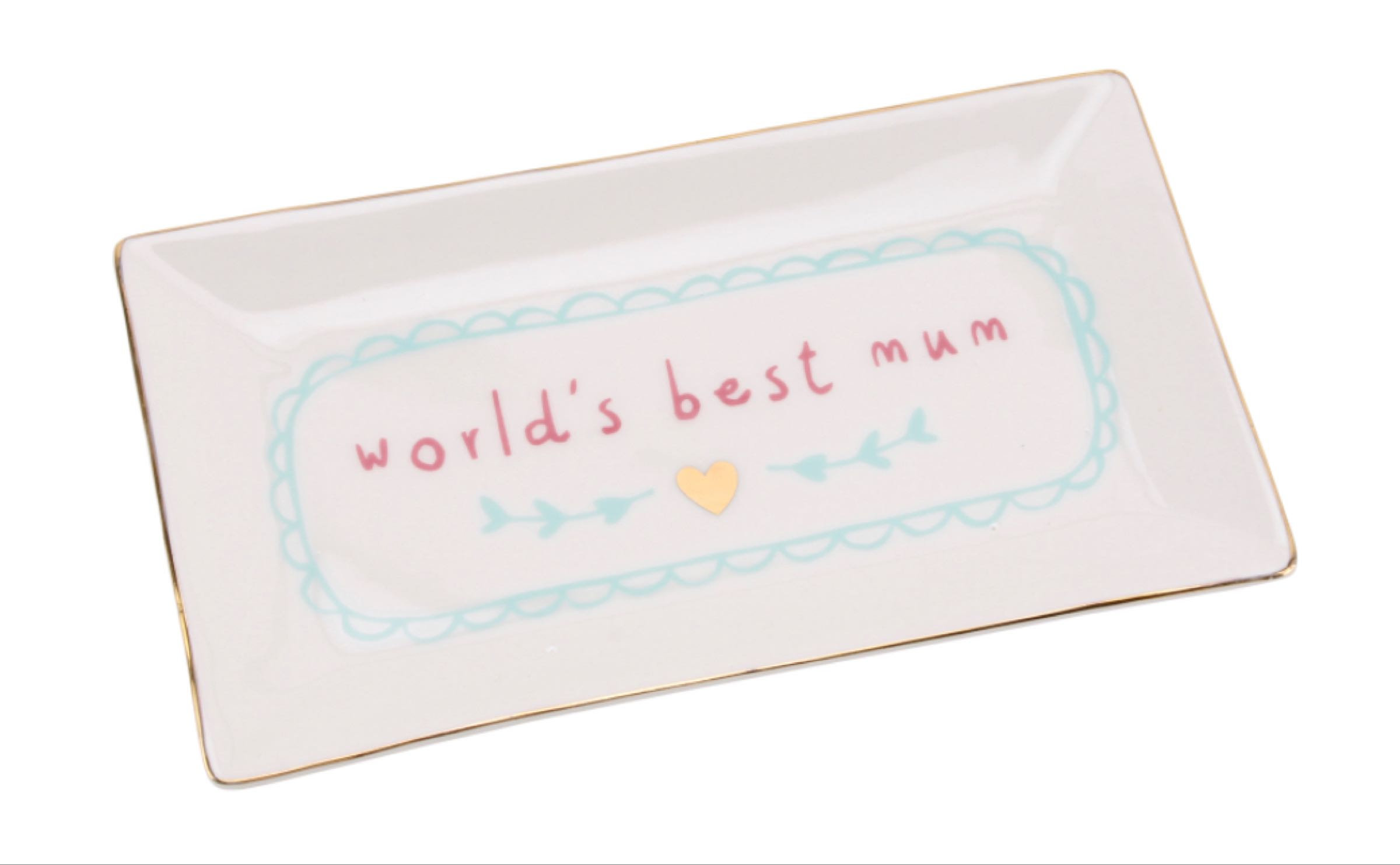 'World's Best Mum' Plate  12cmx20cmx2cm