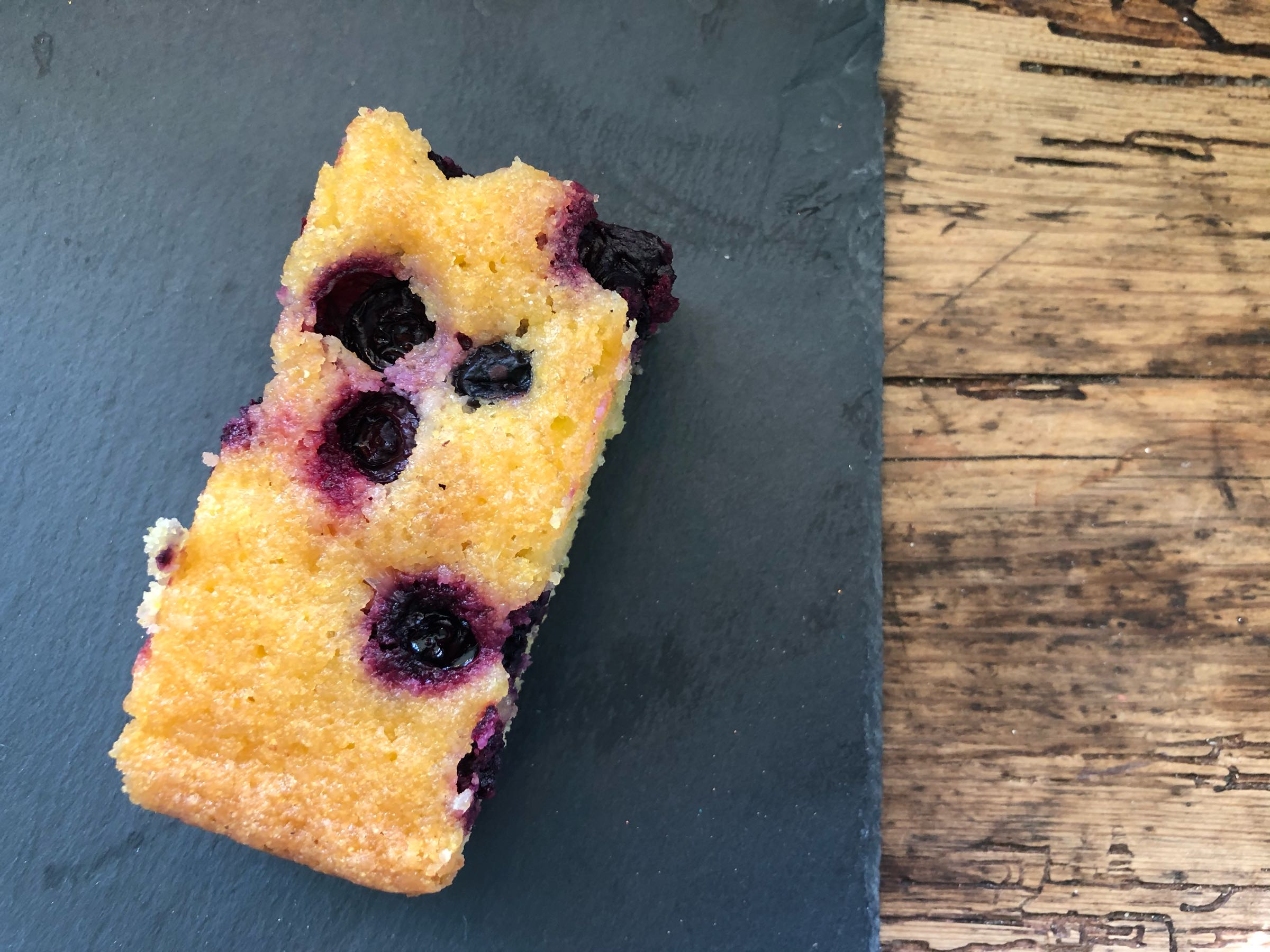 Blueberry Lime & Almond Polenta Slice