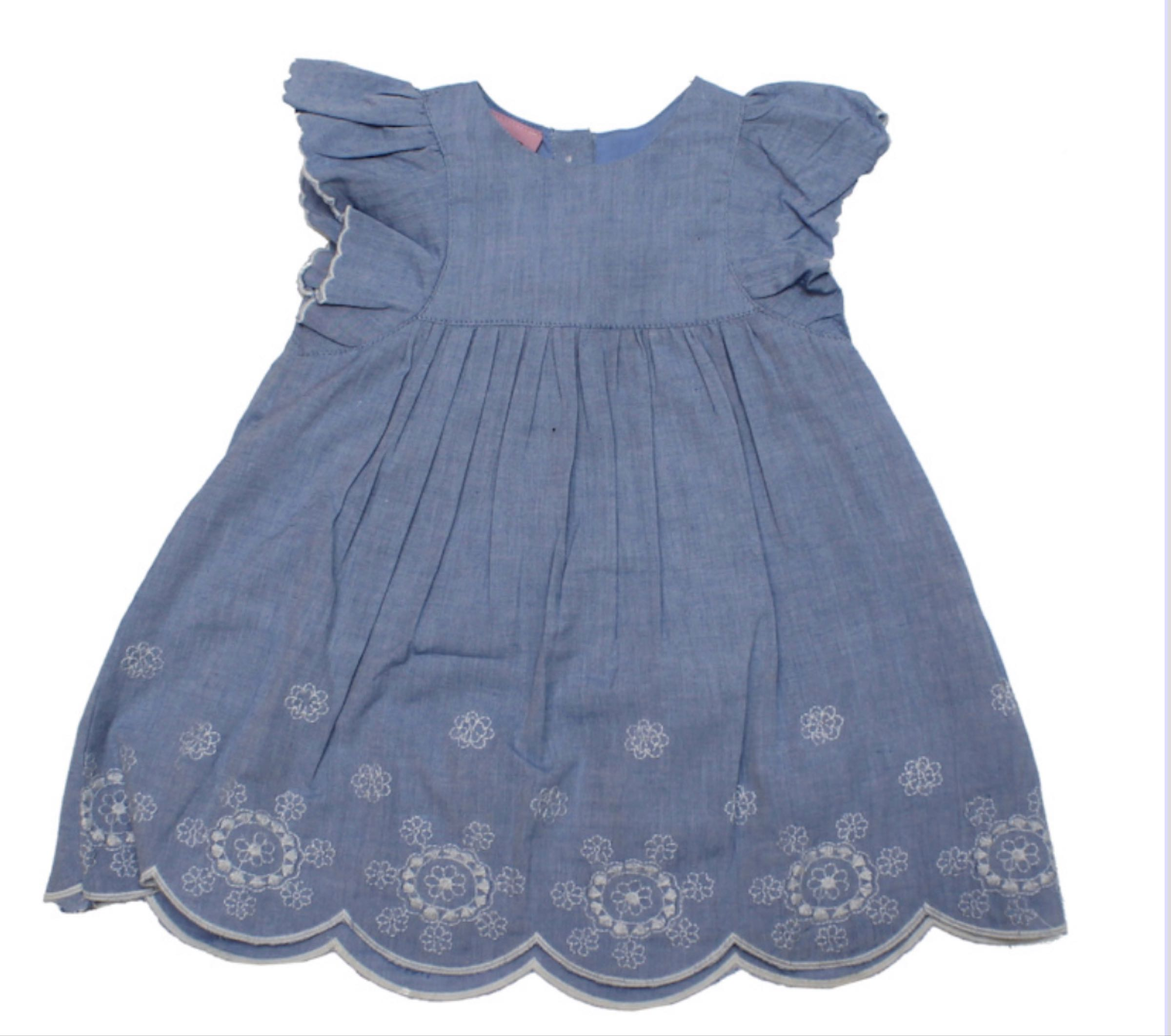 Embroidered  floral chambray dress