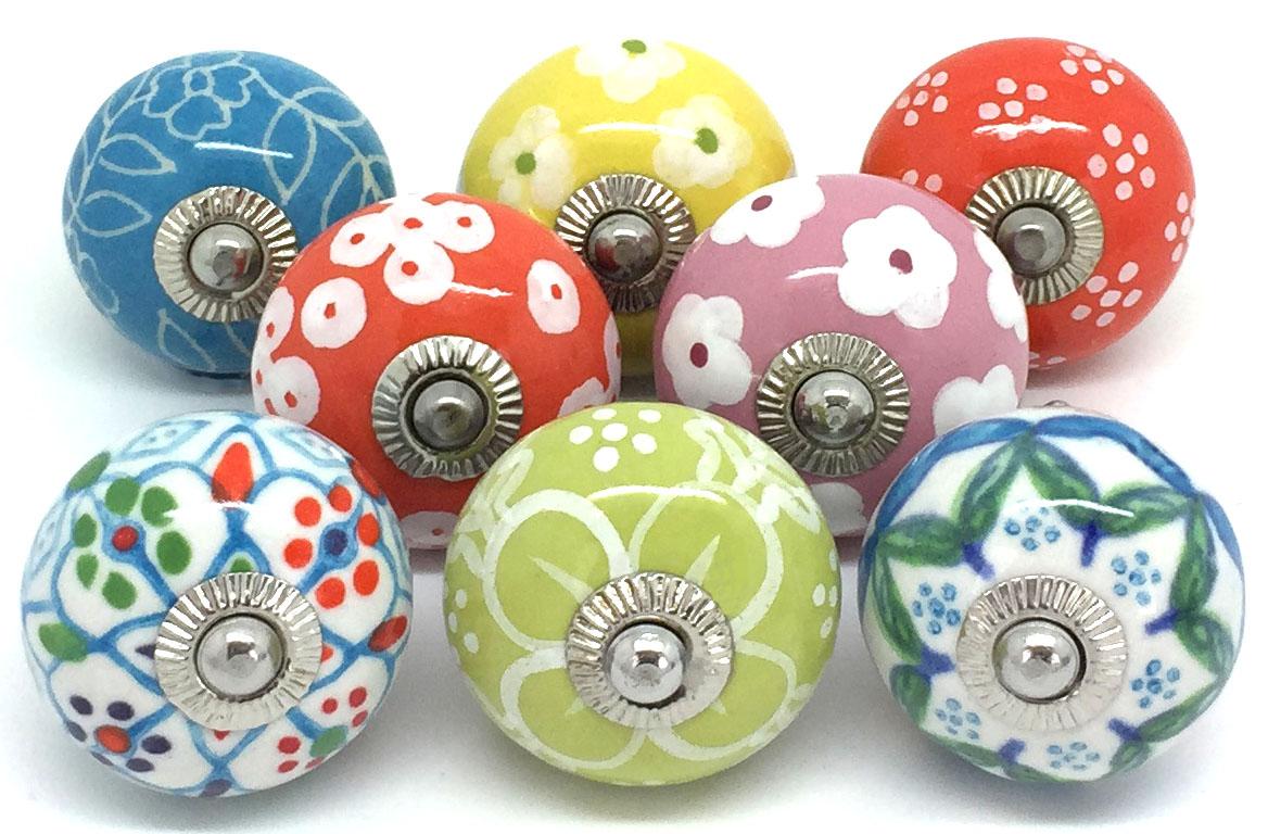 Set of 8 Artisan Floral Knobs