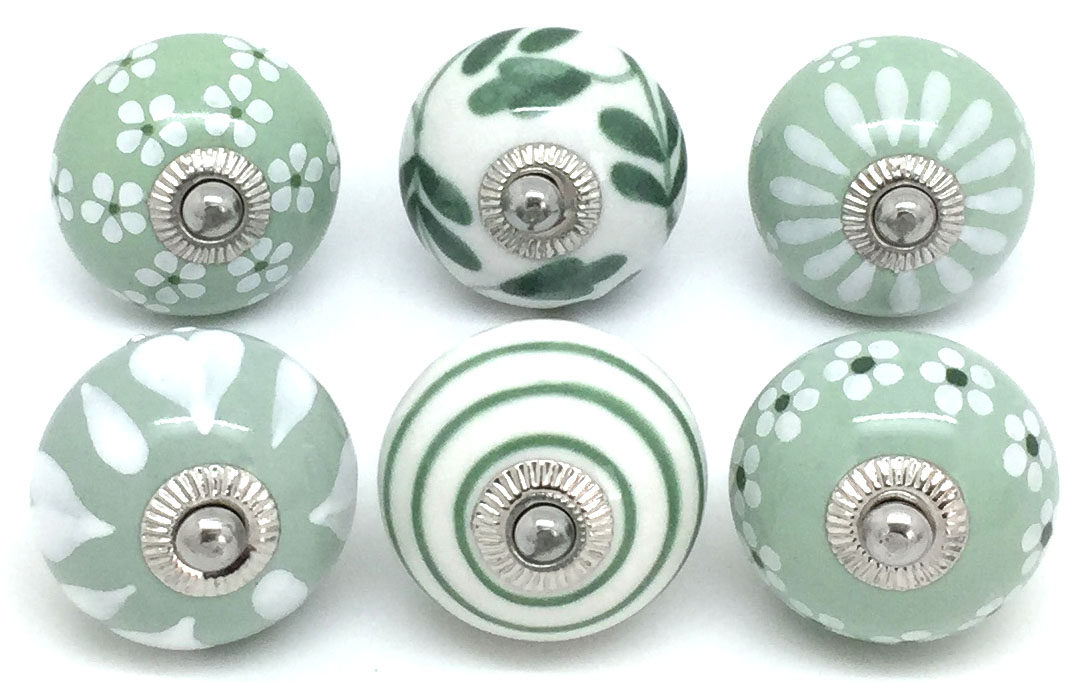 Set of 6 Sage Green and White Knobs