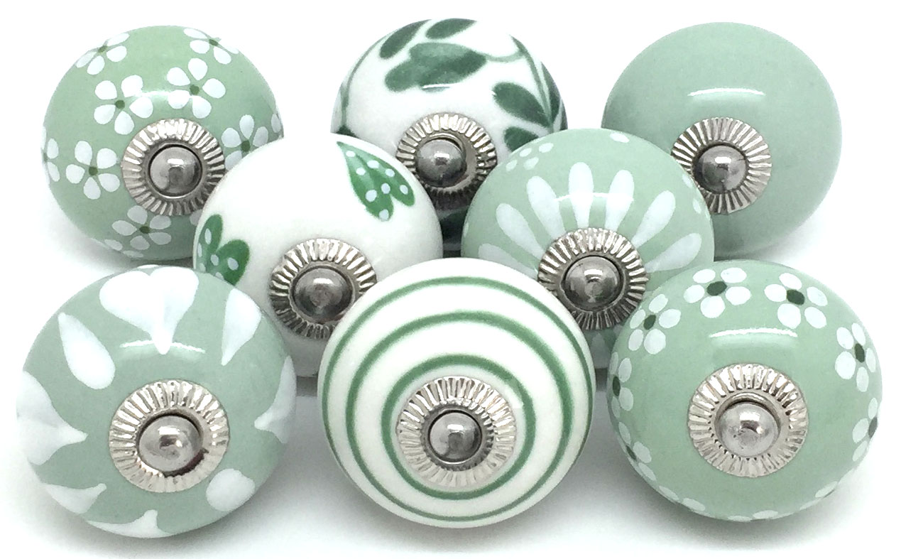 Set of 8 Sage Green and White Knobs