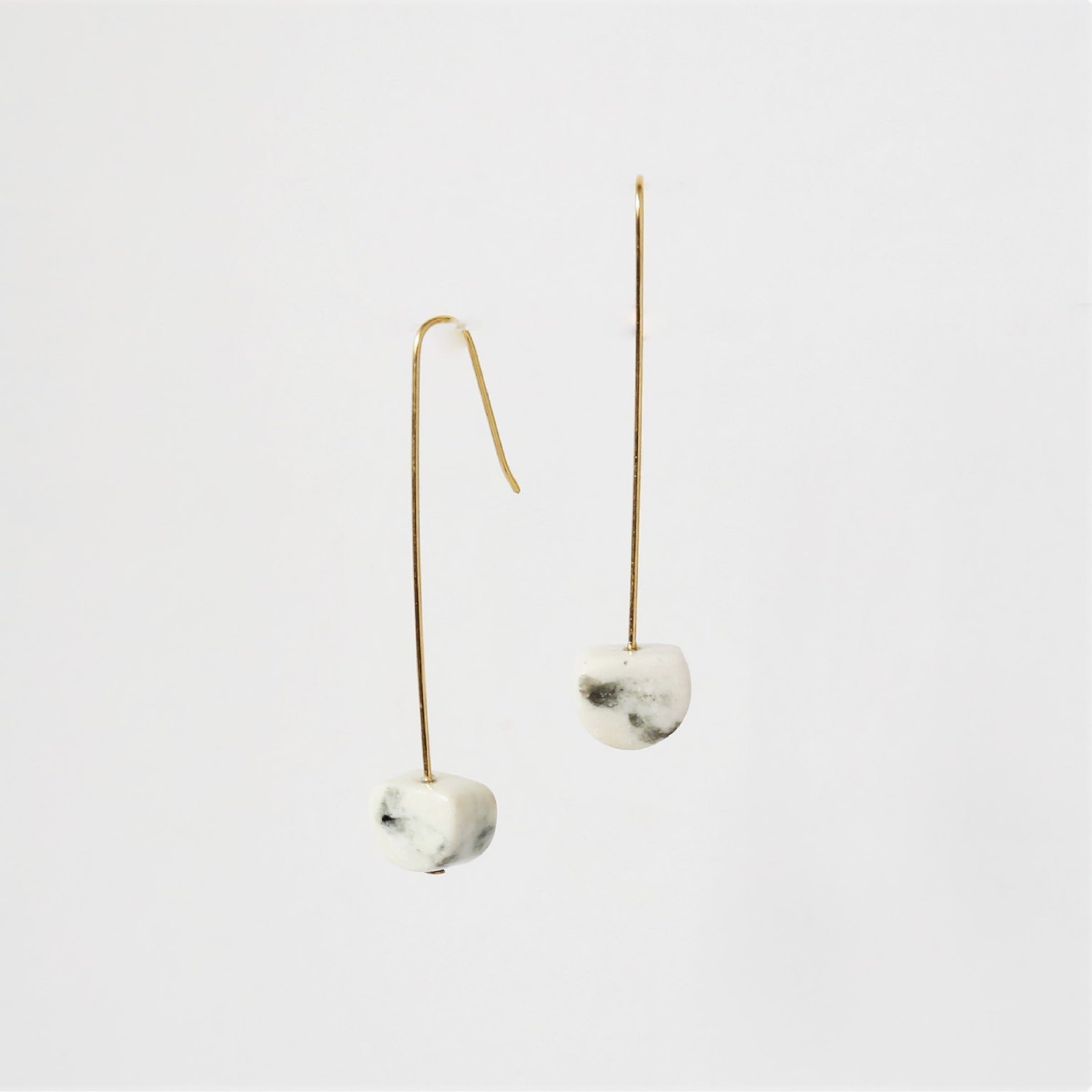 Glazed porcelain earrings on long gold plated wires by Clay Shed Studio
