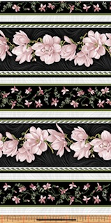 Magnolia Blooms Stripe Svart-Rosa 03617-20