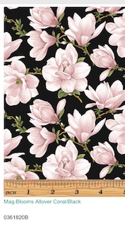 Magnolia Blooms allover Svart-Rosa 03618-20