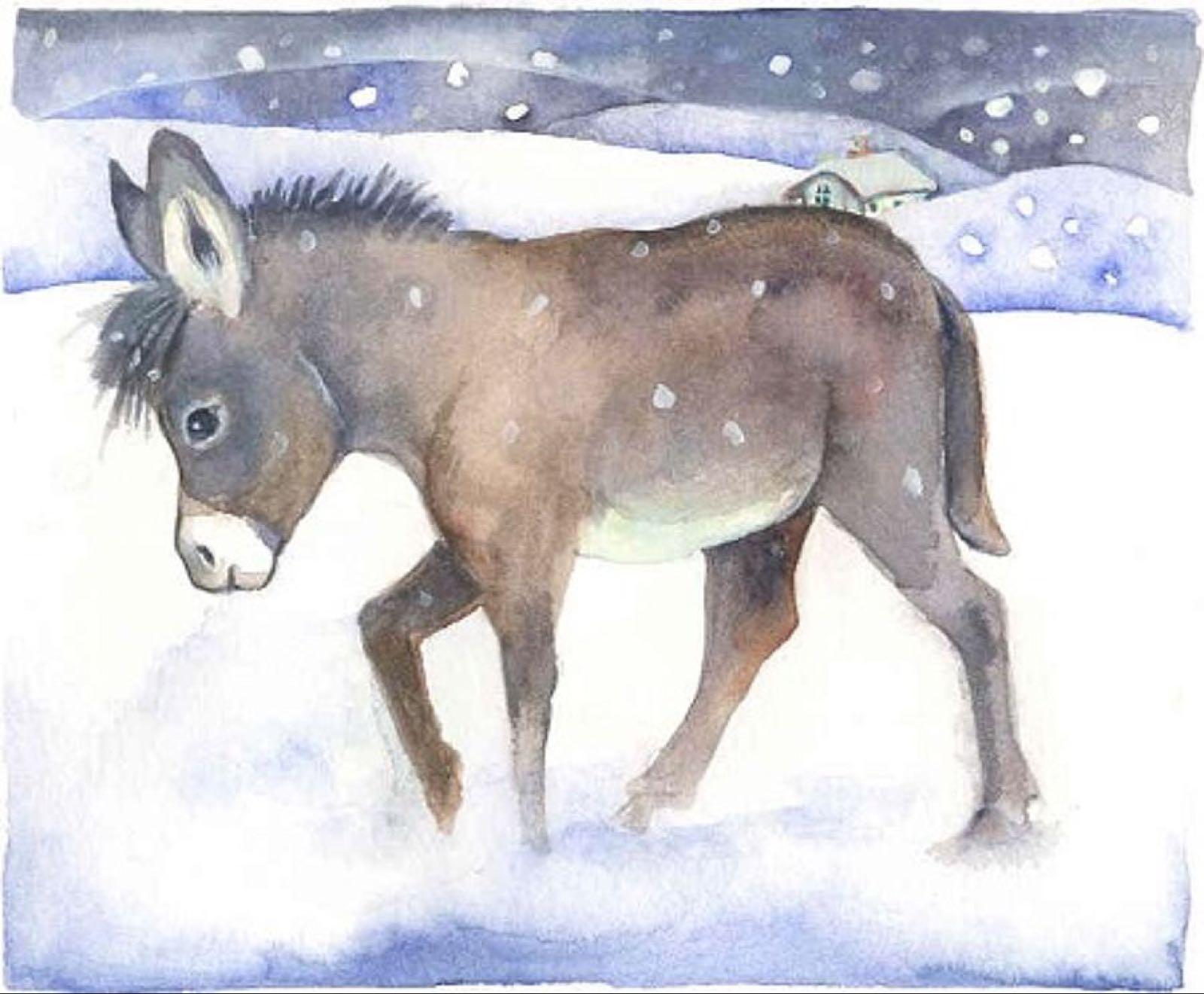 'Little Donkey in the Snow' Furzedown Gallery Mini Card