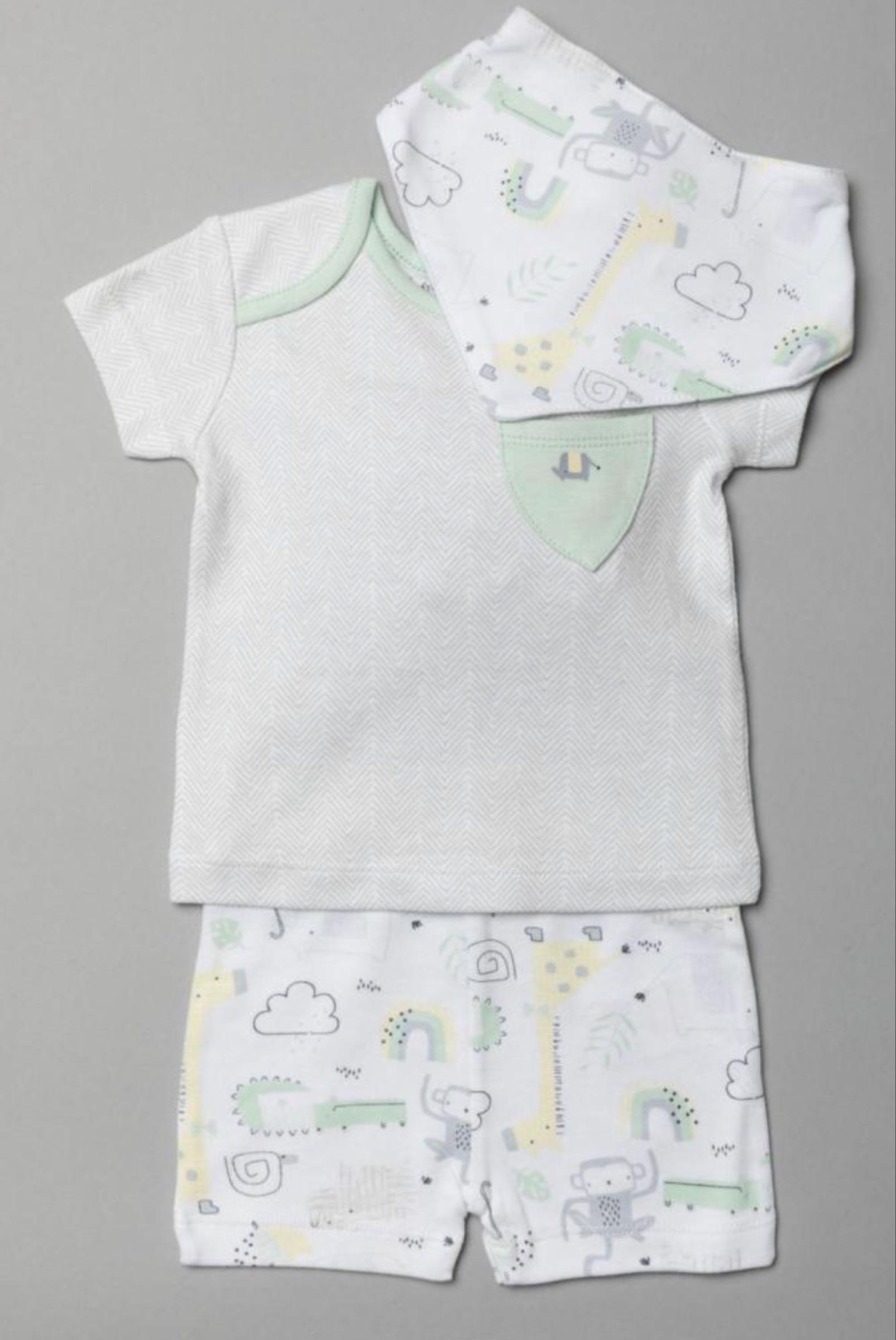 Organic unisex shorts and top set with bib