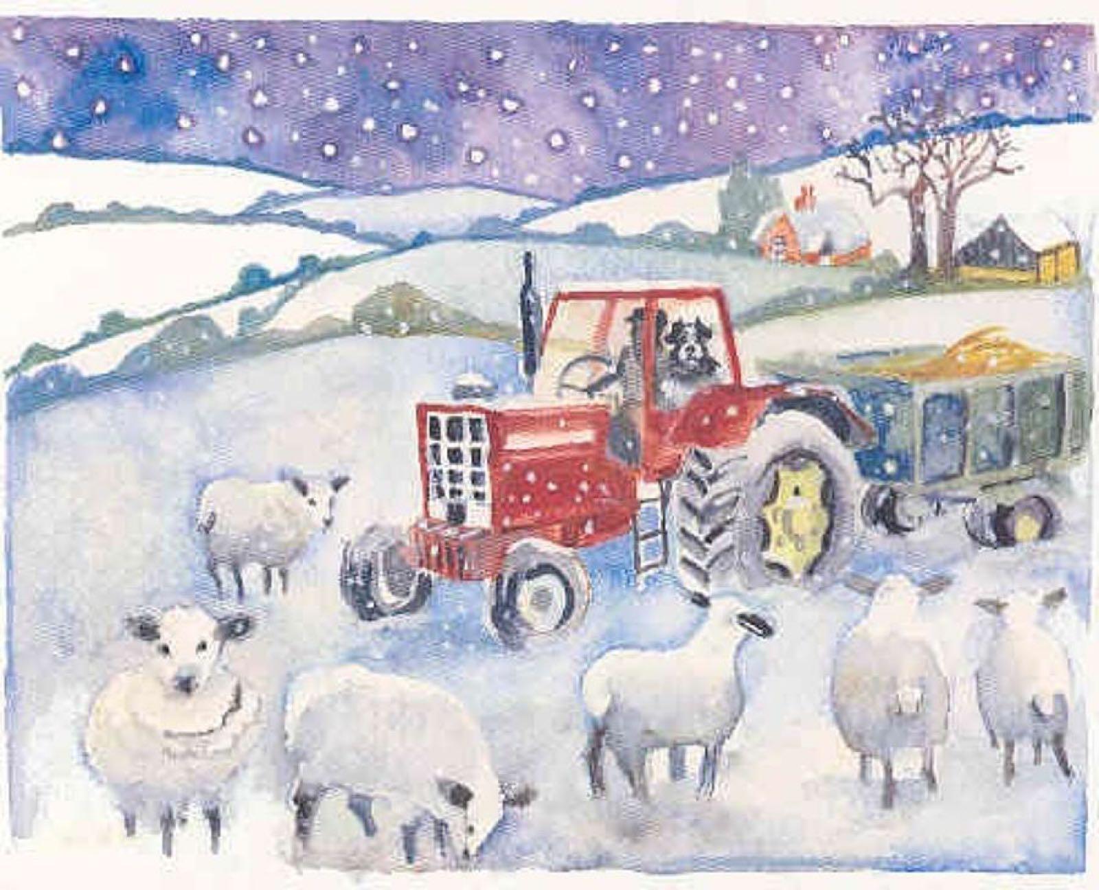 'Feeding the Sheep in the Snow' Furzedown Gallery Mini Card