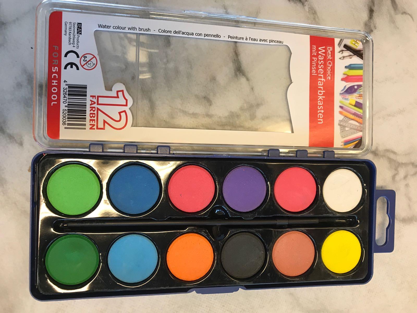 Vattenfärgslåda - 12 färger med pensel
