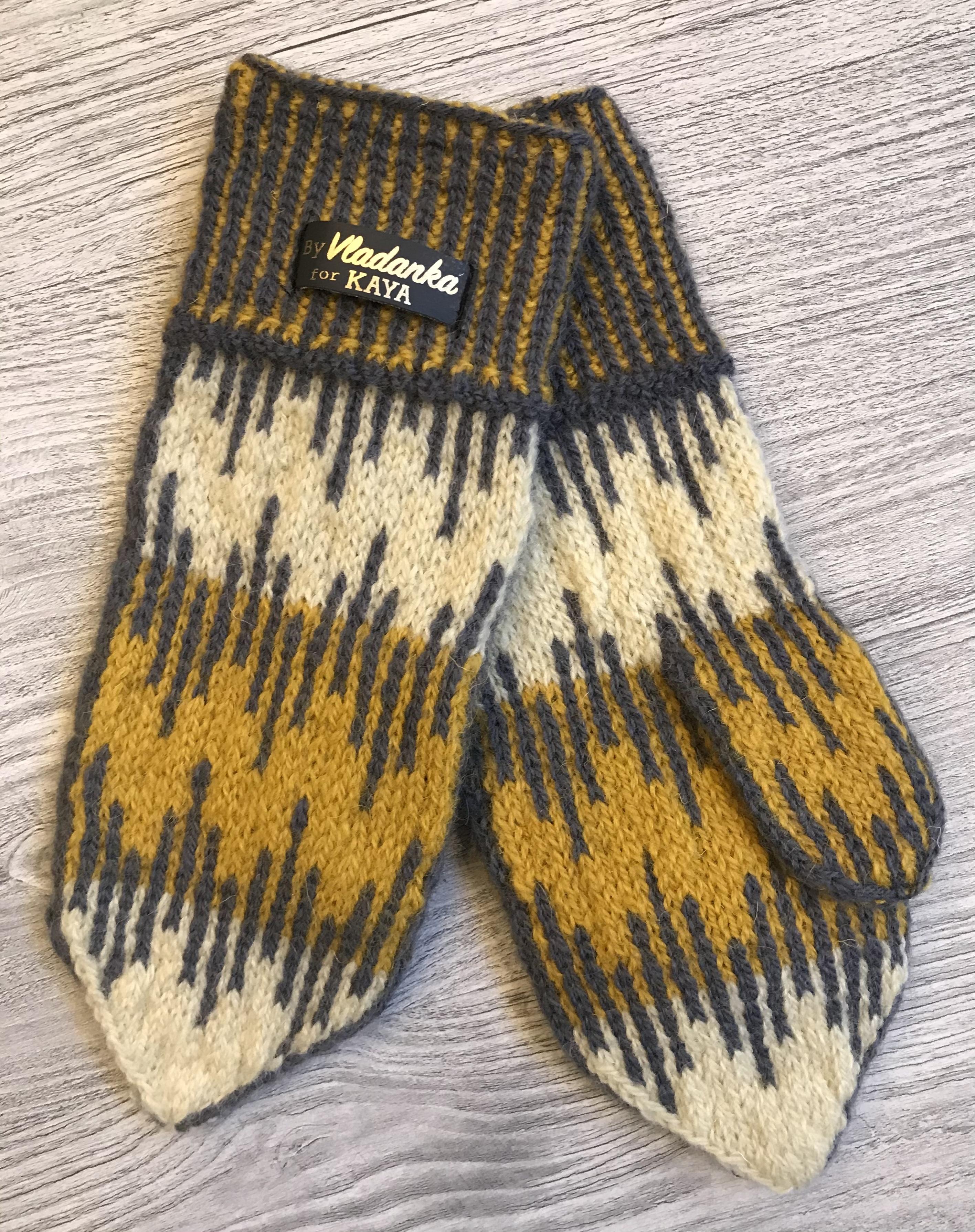 Hand-knitted organic mittens by Vladanka for Kaya Originals