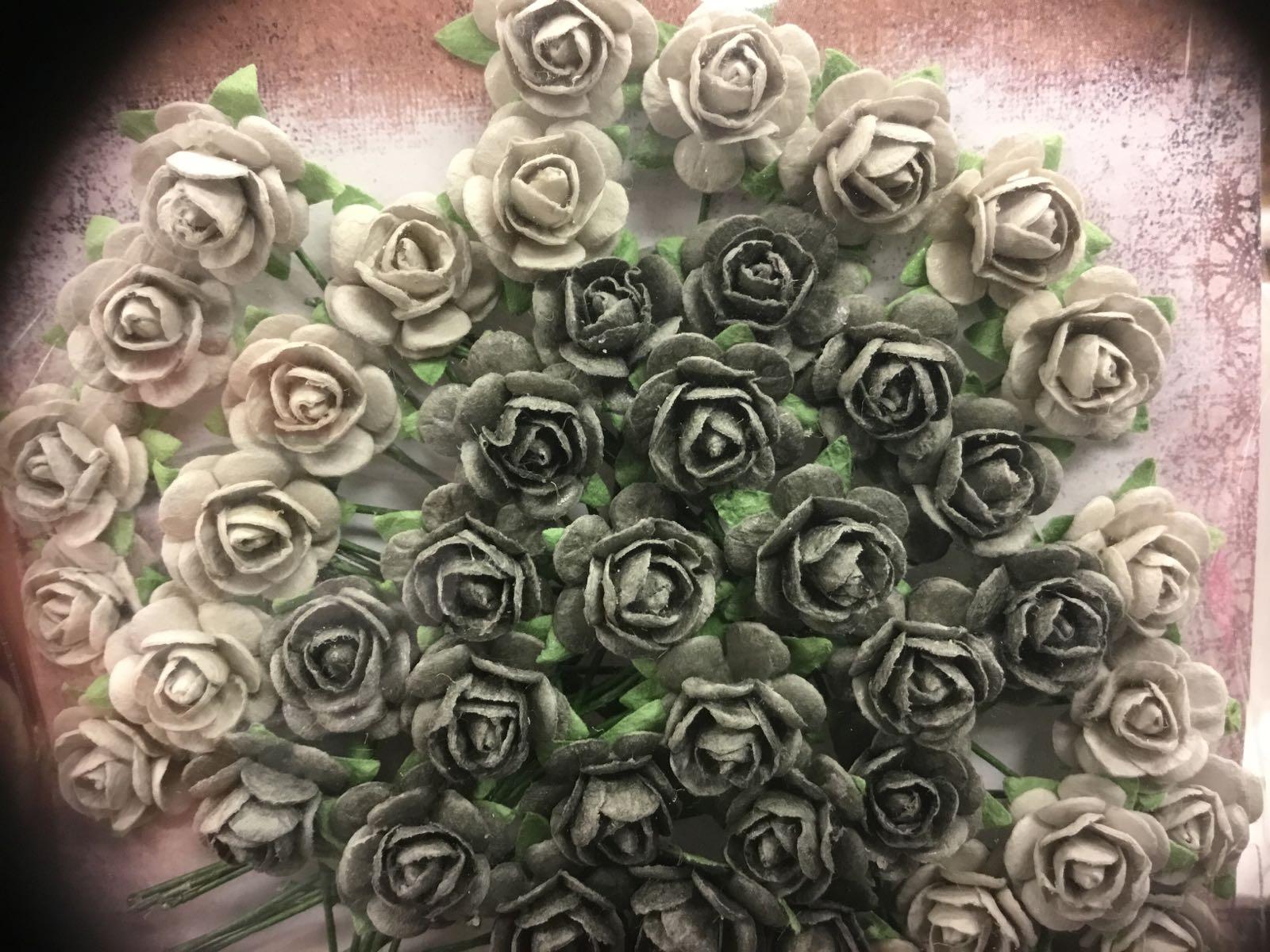 Papirdesign blomst, rose lys grå/mørk grå, 1,2cm