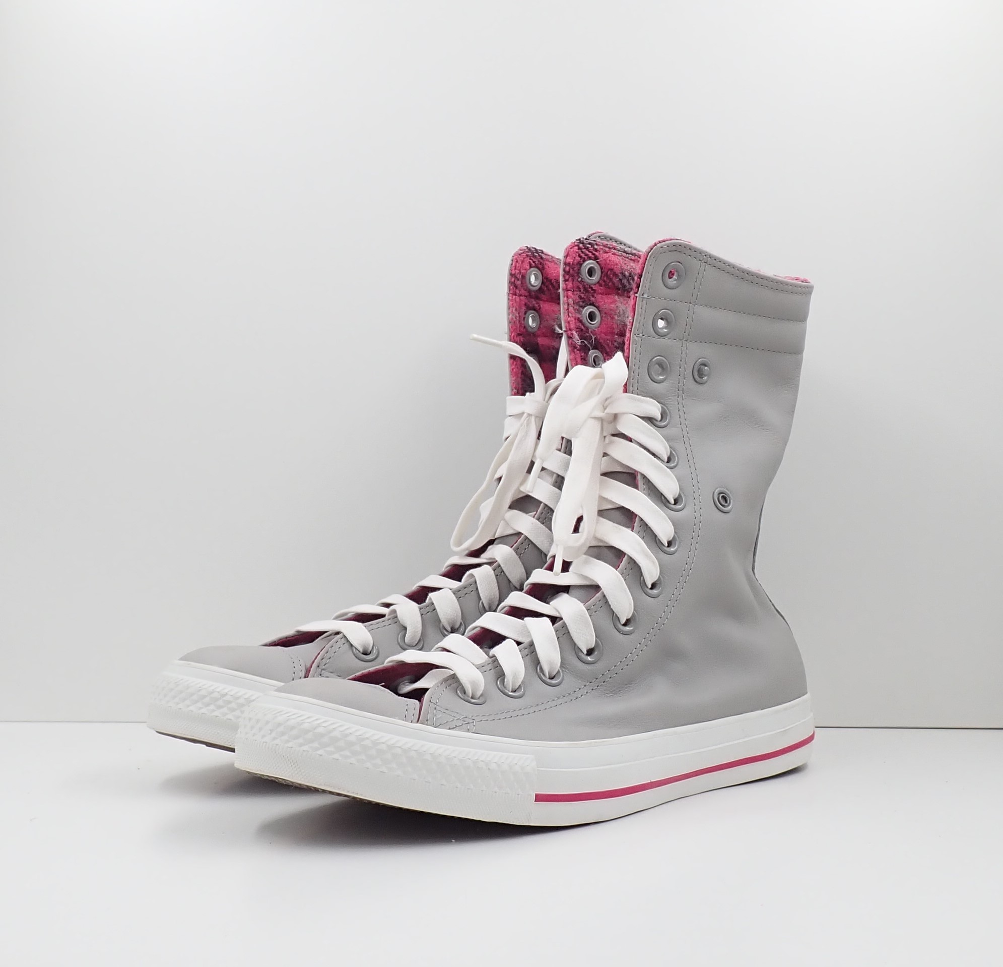 Converse Chuck Taylor All Star High Leather Grey/Pink