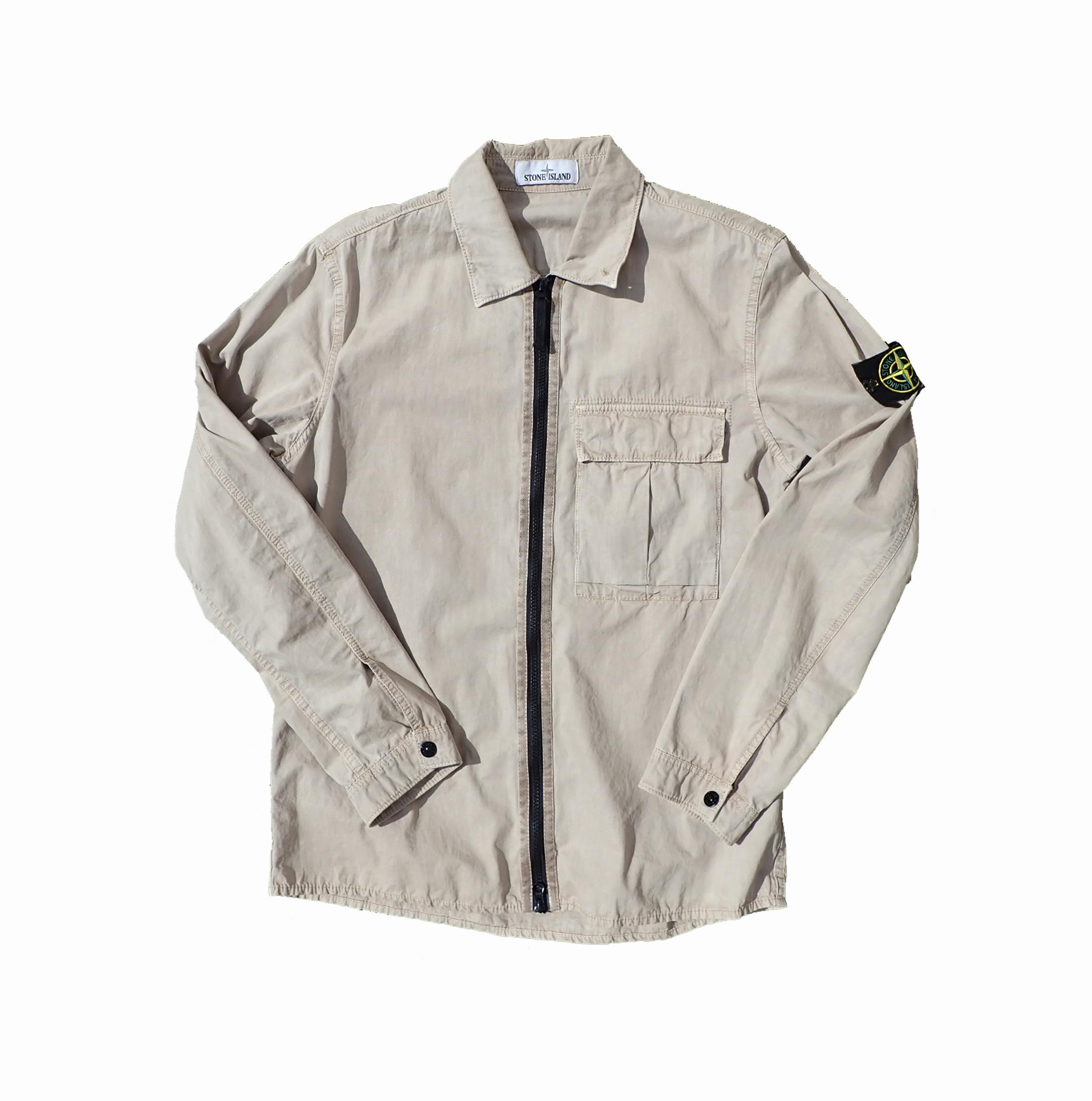 Stone Island Beige Zip-up Overshirt