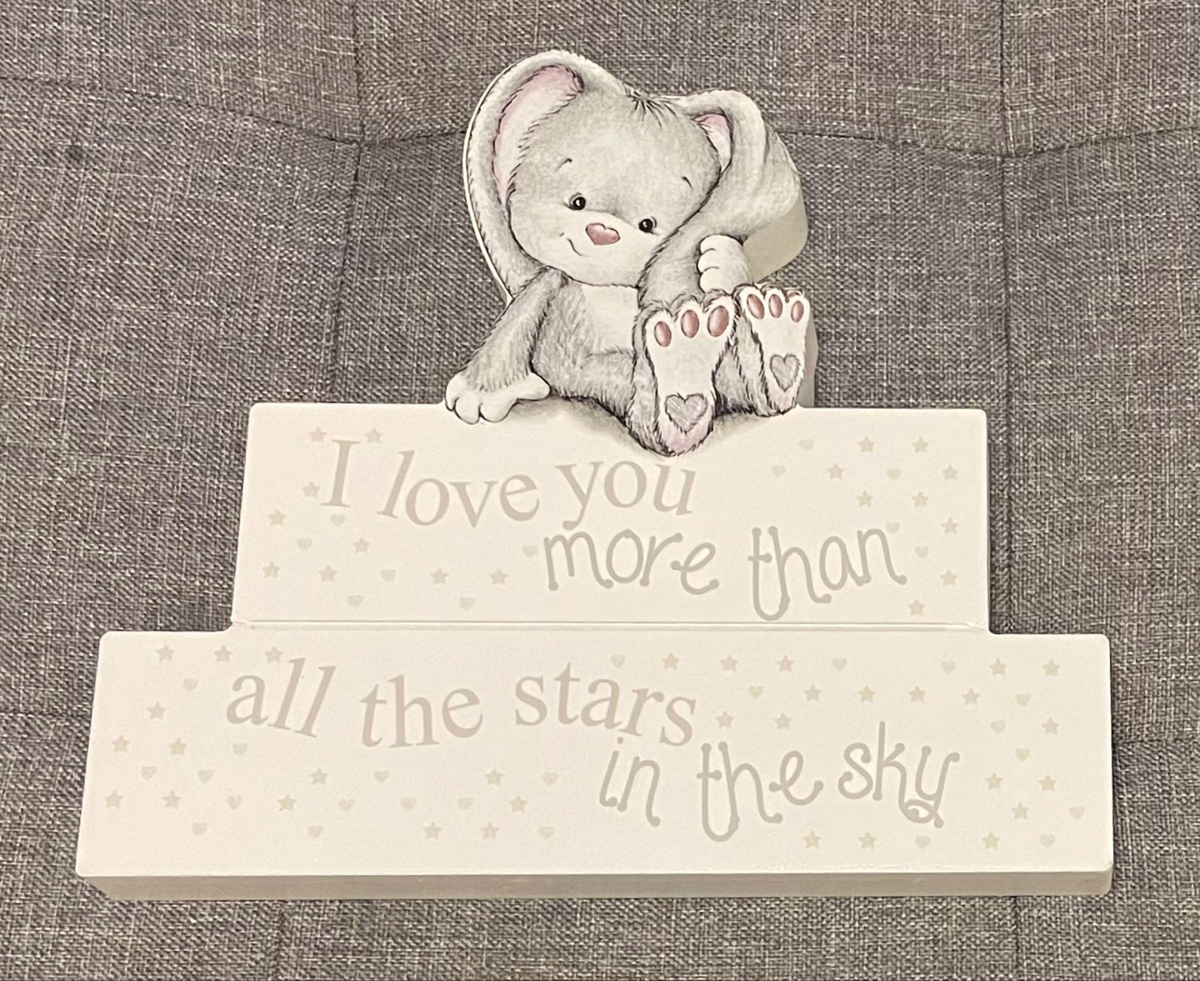 Grey baby bunny block decoration 18cmx20cmx2cm