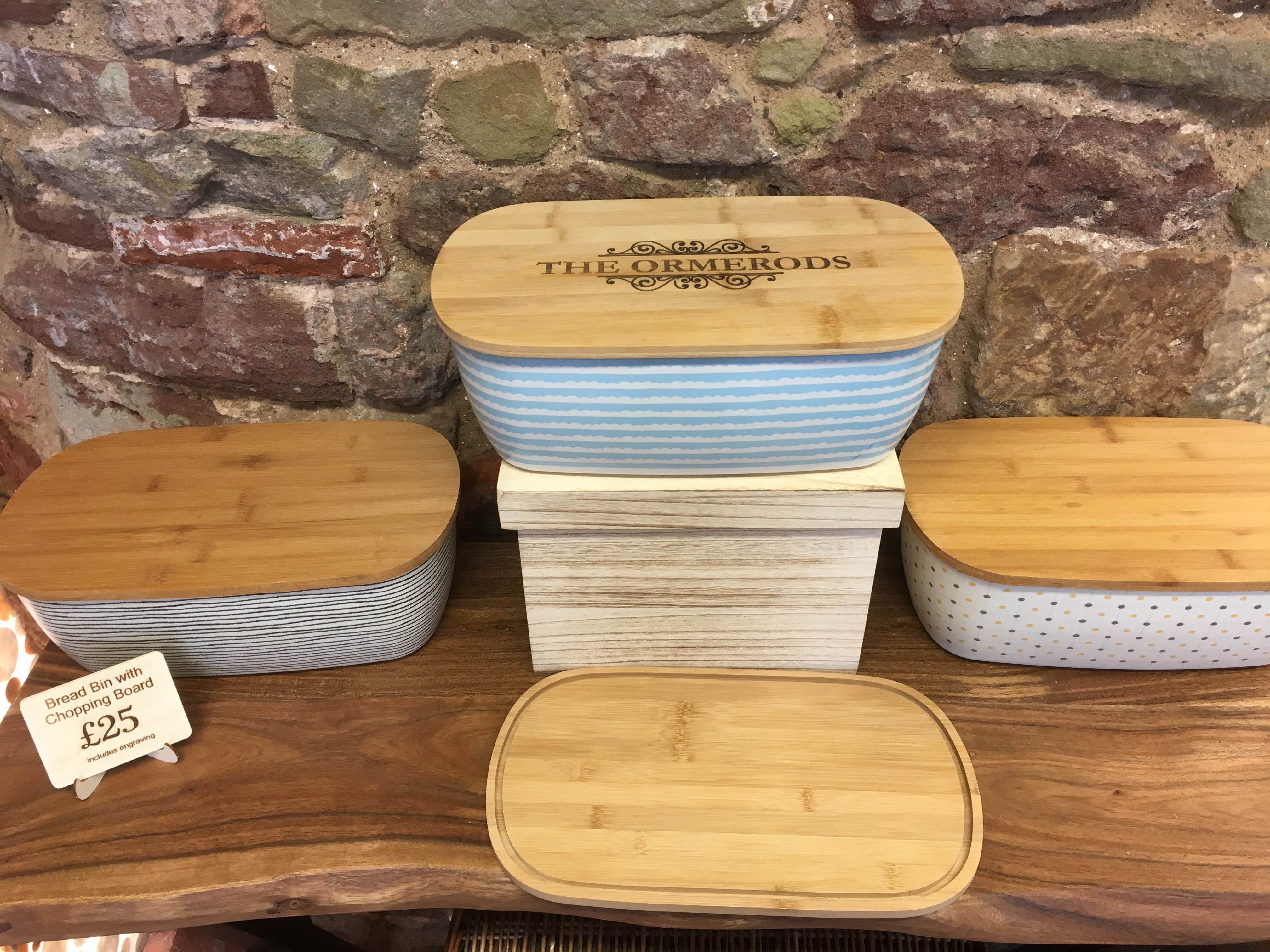 Eco Friendly Bamboo Bread Bin with personalised lid
