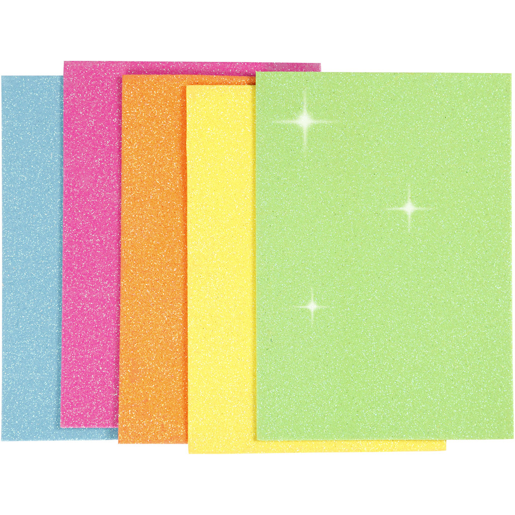 Dekorgummi Glittriga A5 format, 5 ark per förp.
