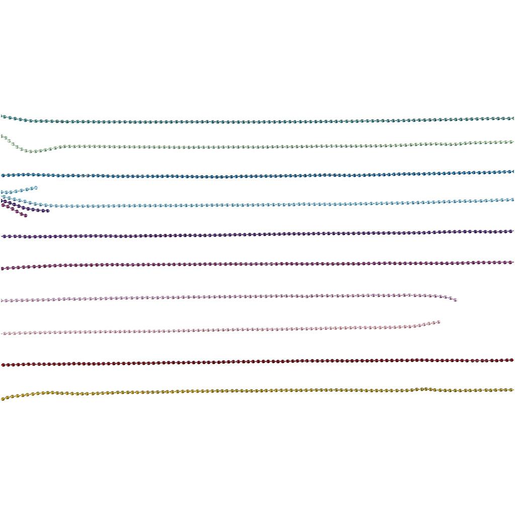 Färgade Kulkedjor, 1,5 mm, Mixade Färger, 80 cm, 10 Mix