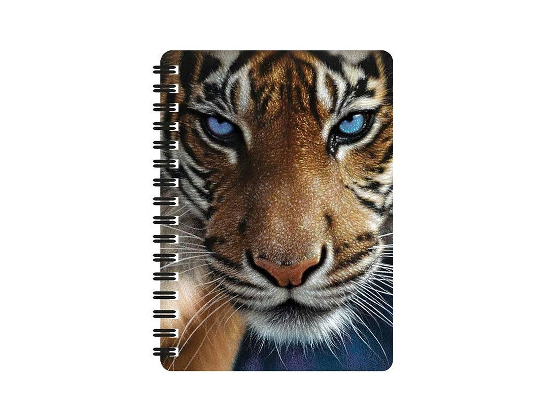 Tiger blå ögon Anteckningsbok 3D