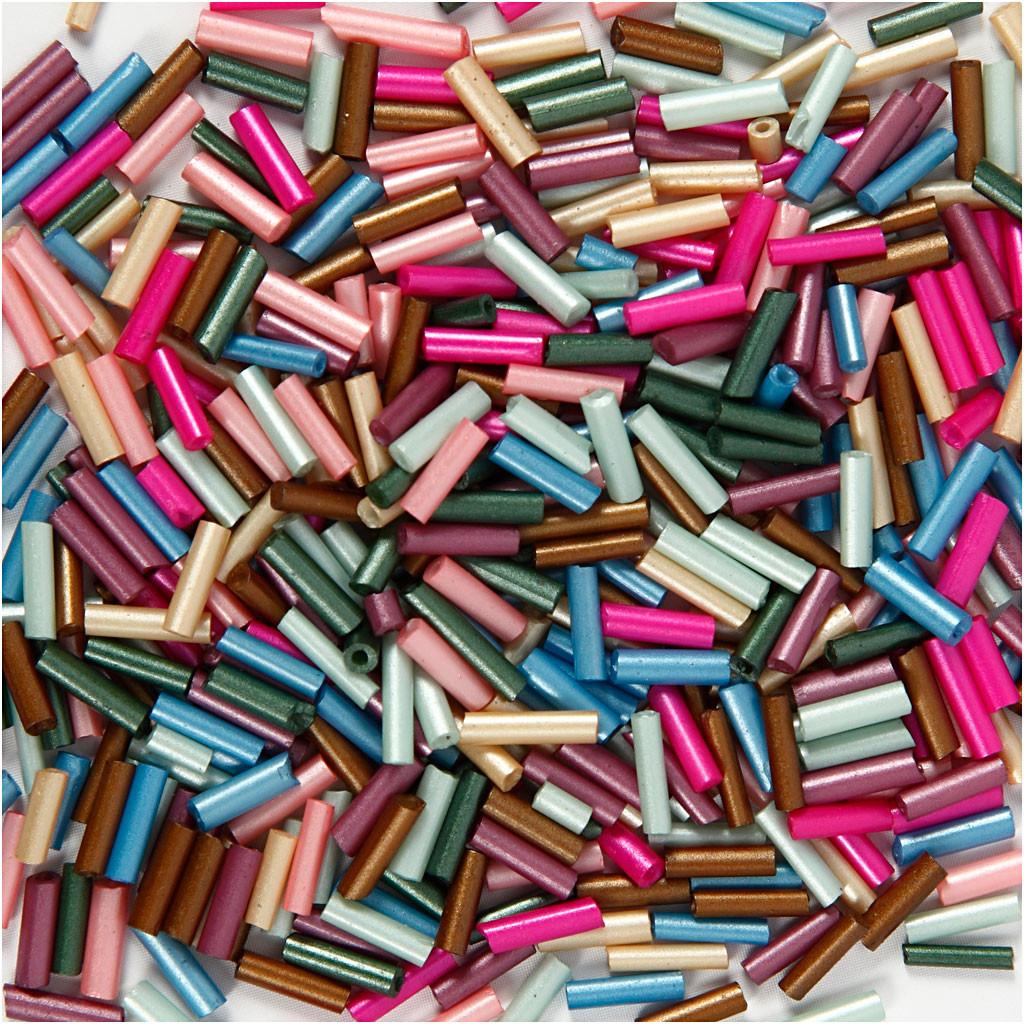 Avlånga Glaspärlor, L: 6 mm, 1,5-2 mm, 1 mm, Metallicfärger, 130g