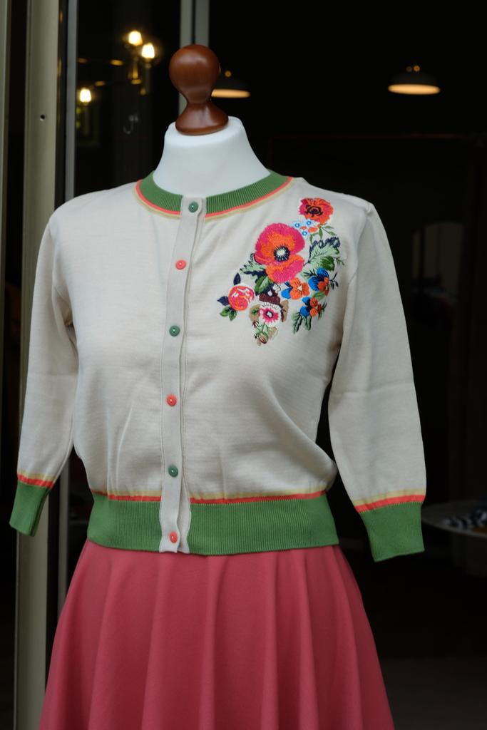 """Palava, Cardigan """"Classic"""", Cream Floral"""