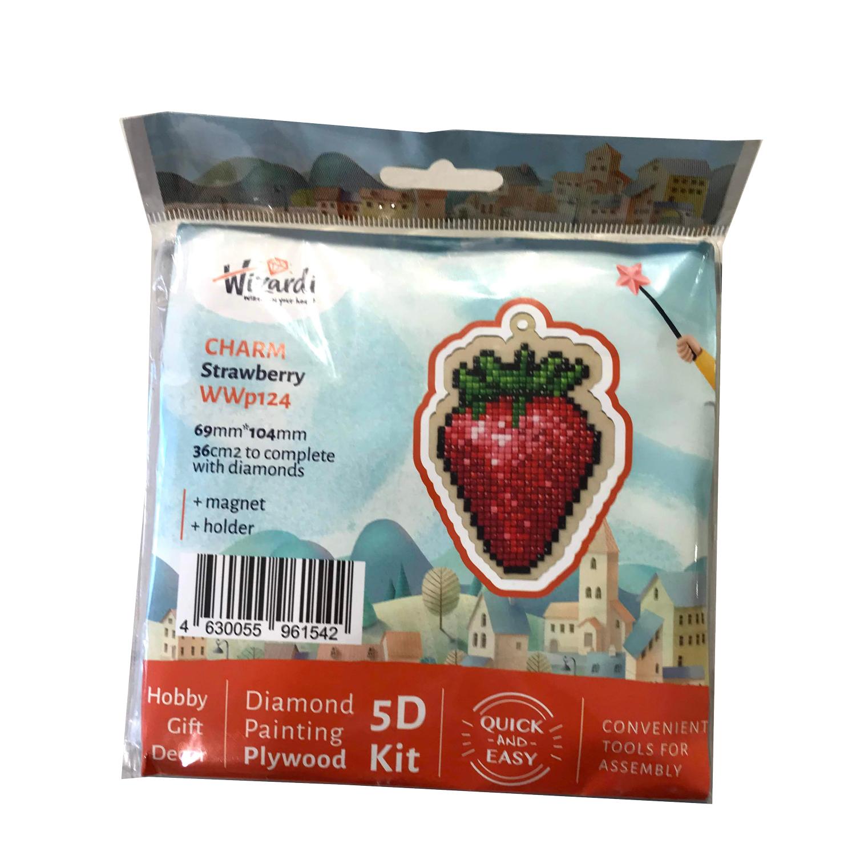 Jordbær, 5D Diamond Paint, krydsfiner vedhæng