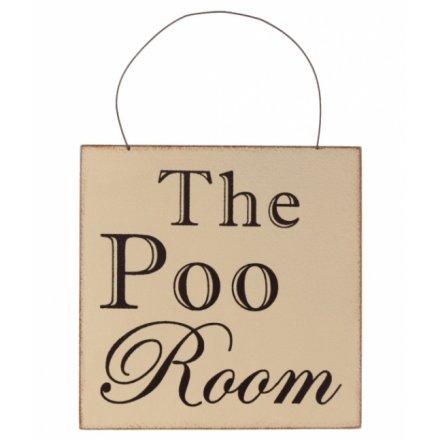 """Træskilt """"Poo room"""""""