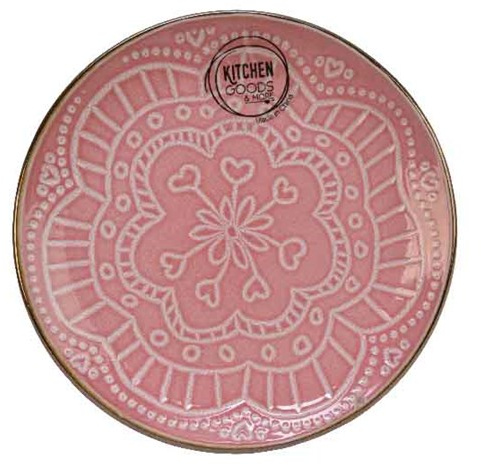 Mandala tallerken i porcelæn, pink