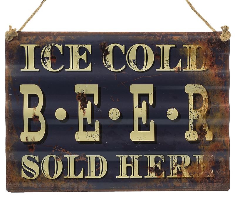 Metalskilt Ice cold beer...