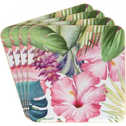 4-pak coasters Floral Pink