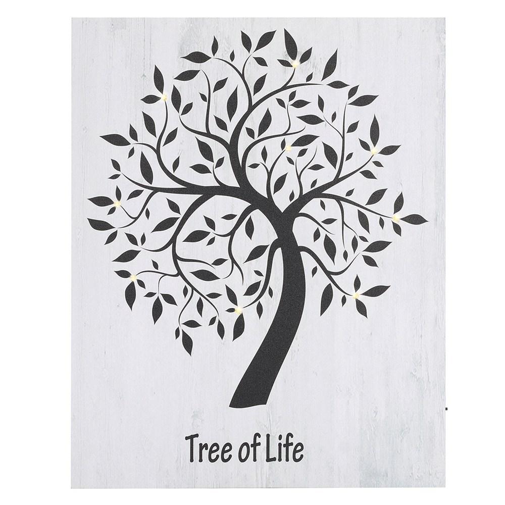 Billede med LED lys Livets træ
